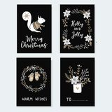 Set of cute Christmas greeting cards, invitations with squirrel, wreath glowes and winter flowers. Hand drawn Royalty Free Stock Image