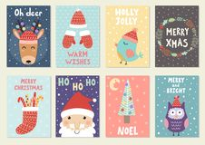 Set of cute Christmas greeting cards. Postcards and prints with reindeer, santa, owl and bird. Vector illustration vector illustration