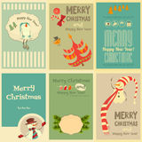 Set of Cute Christmas Mini Posters Stock Images
