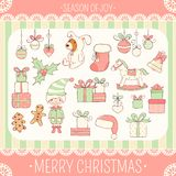 Set of cute Christmas party icons in retro style royalty free stock photography