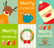 Set of Cute Christmas Posters Stock Photography