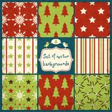 Set of Cute Christmas Seamless Vector Patterns Royalty Free Stock Image