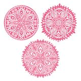 Set of cute circle ornament laces in pink, mandala Stock Photography