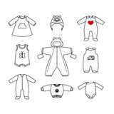 Set of cute clothes for the little baby. Collection of clothing in a linear style for the newborn. Stock Images