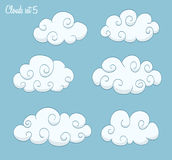 Set of cute clouds Stock Photos