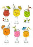 Set of cute cocktails  Stock Photography