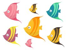 Set of Cute Colored Cartoon Fishes Vector Illustration vector illustration