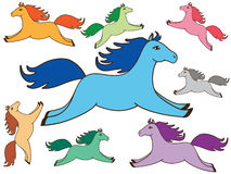 Set of cute colored horse. On white background. vector illustration stock illustration