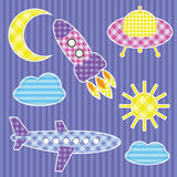 Set of cute colorful aircraft stickers. Set of cute vector colorful aircraft stickers Stock Image