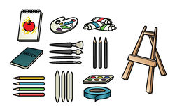 Art Supply Icons. A set of 11 cute and colorful art supply icons Stock Images