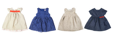 Set of cute colorful baby dresses Stock Photos