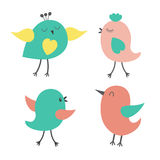 Set of cute colorful birds Stock Photo