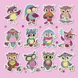 Set of 12 cute colorful cartoon owls. Funny stickers of birds on pink background. Can be used for baby shower, kids design, birthday cards, invitations, print Stock Illustration