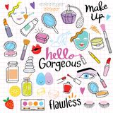 Cosmetic Doodle Hand Drawing. Set of cute and colorful cosmetic doodle hand drawing on paper royalty free illustration