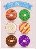 Set of cute colorful donuts Stock Images