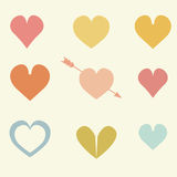 Set of cute colorful drawings of hearts with arrows. Vector background Stock Images