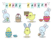 Set of cute colorful Easter bunnies, Easter eggs and Easter Chicks vector illustration Royalty Free Stock Photo