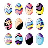 Set of cute colorful easter eggs in style kawaii isolated on white background royalty free illustration