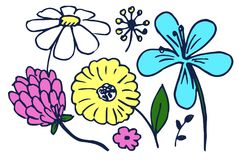 Set of Cute Colorful Flowers Vector Illustration. Of hand drawing blue yellow white and pink flowers with green leaves isolated on light background Stock Images