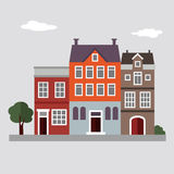 Set of cute colorful houses, summer urban landscape,  Royalty Free Stock Photography