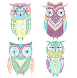 Set of cute colorful owls stock illustration