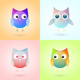 Set of cute colorful owls Royalty Free Stock Photo