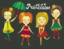 Set of 4 cute colorful Princesses Stock Photo