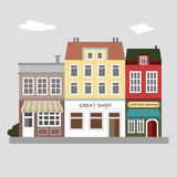 Set of cute colorful stores, houses, urban  illustration Royalty Free Stock Photography