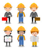 Set of cute construction Engineering Industrial Workers Project Manager isolated on white background, Engineer man and woman. Set of cute construction Stock Photos