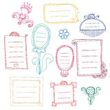 Set of cute contour color frames with curls Stock Photography