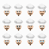 Set of cute cook emoticons. Royalty Free Stock Photos