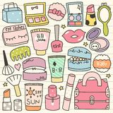 Set of Cute Cosmetic Doodles Stock Photo