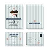 Set of Cute Couple Cartoon Wedding Invitation card. Modern style.Blue color tone. Stock Images