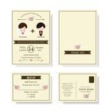Set of Cute Couple Cartoon Wedding Invitation card. Modern style. Stock Images