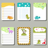 Set of cute creative cards with cartoon dinosaurs. Royalty Free Stock Image