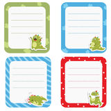 Set of cute creative cards with cartoon dinosaurs. Stock Image