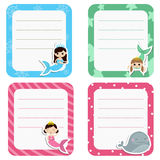 Set of cute creative cards with girl mermaids. Royalty Free Stock Photography