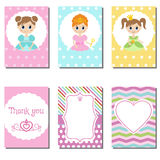 Set of cute creative cards with princess theme design. Royalty Free Stock Image