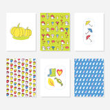 Set of 6 Cute Creative Cards Templates With Autumn Design. Hand Drawn Card. Royalty Free Stock Photo