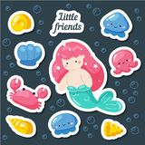 Set of cute creative stickers templates with mermaid theme design. Hand Drawn card for birthday, party invitations, scrapbook, royalty free illustration