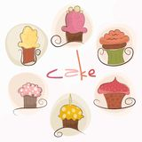 Set of cute cupcakes Royalty Free Stock Photos