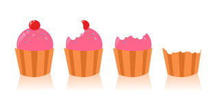 Set of cute cupcakes. With teeth marking Stock Photography