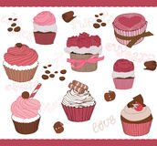 Set of Cute Cupcakes for design Royalty Free Stock Photo