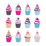 Set of 12 cute cupcakes isolated on white background. Vector illustration vector illustration