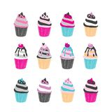 Set of 12 cute cupcakes isolated on white background. Vector illustration stock illustration