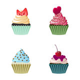 Set of cute  cupcakes and muffins. Stock Photography