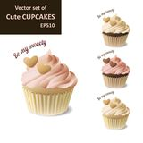 Set of cute cupcakes. Set of cute strawberry, vanilla and chocolate cupcakes with hearts,EPS10 Royalty Free Stock Images
