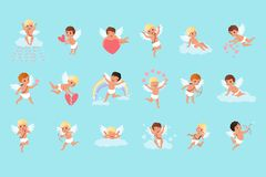 Set of cute cupid boys in different actions. Flying, sitting on clouds, spreading love. Mythical archers. Angels of love vector illustration