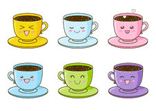 Set of cute cups of coffee Stock Photo