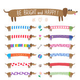 Set of cute dachshunds Stock Images